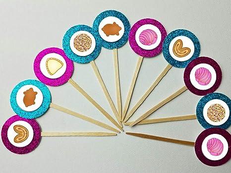 Amazon.com: Set of 12 Concha Pan Dulce Cupcake Toppers ...