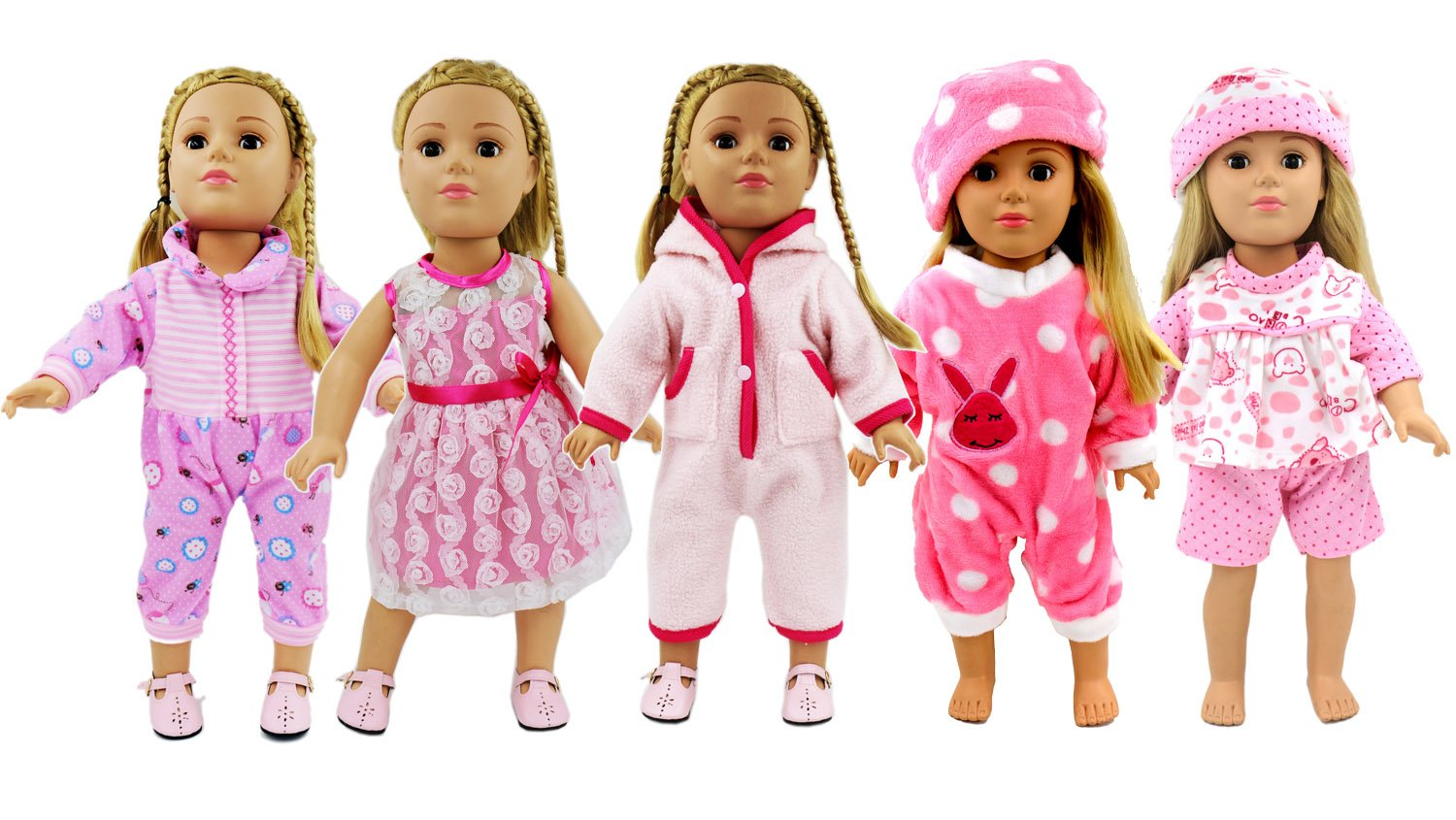 AOFUL 5 Lots Bitty Baby Doll Dress Clothes, Fashion Bunny Pink Pajamas Romper Skirt Outfits Fits 16-18'' inch American Girl Dolls Set of 5