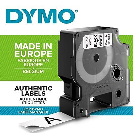 DYMO D1 - Etiquetas Auténticas, Impresión Negra sobre Fondo Blanco, 19 mm × 7 m, Autoadhesivas para Impresoras de Etiquetas LabelManager