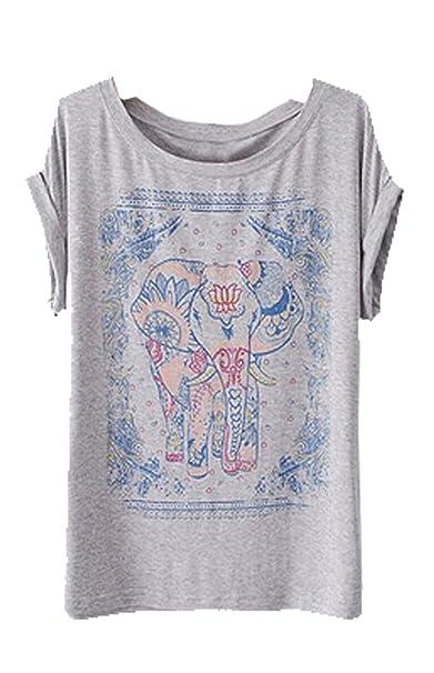 Summer Print para mujer molde redondo para diseño con forma de elefante Zeagoo de manga corta para T-camiseta de manga corta de cuello de: Amazon.es: Ropa y ...