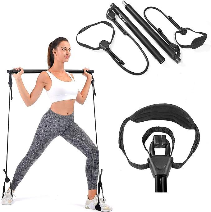Pilates Stick Bar Kit mit Widerstandsband Yogastange mit Fußschlaufe Sportgerät