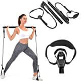Pilates Bar, Wastou Portable Pilates Bar Kit with Adjustable Resistance Band for Different Height, Home Gym Exercise…