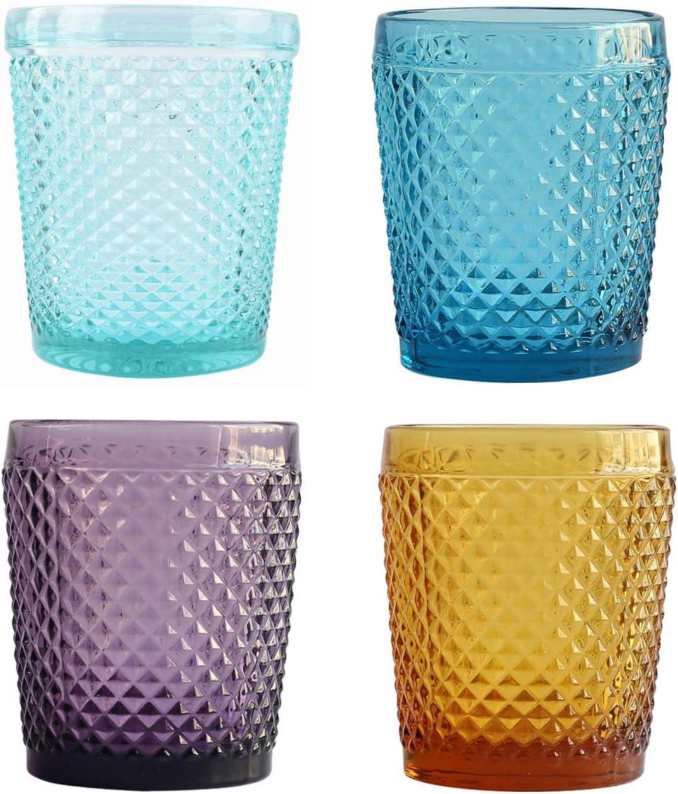 Juego de 4 vasos de cristal vintage de color amarillo dorado para cóctel, cena, decoración de fiesta
