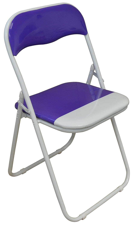Harbour Housewares Purple / White Padded, Folding, Desk Chair