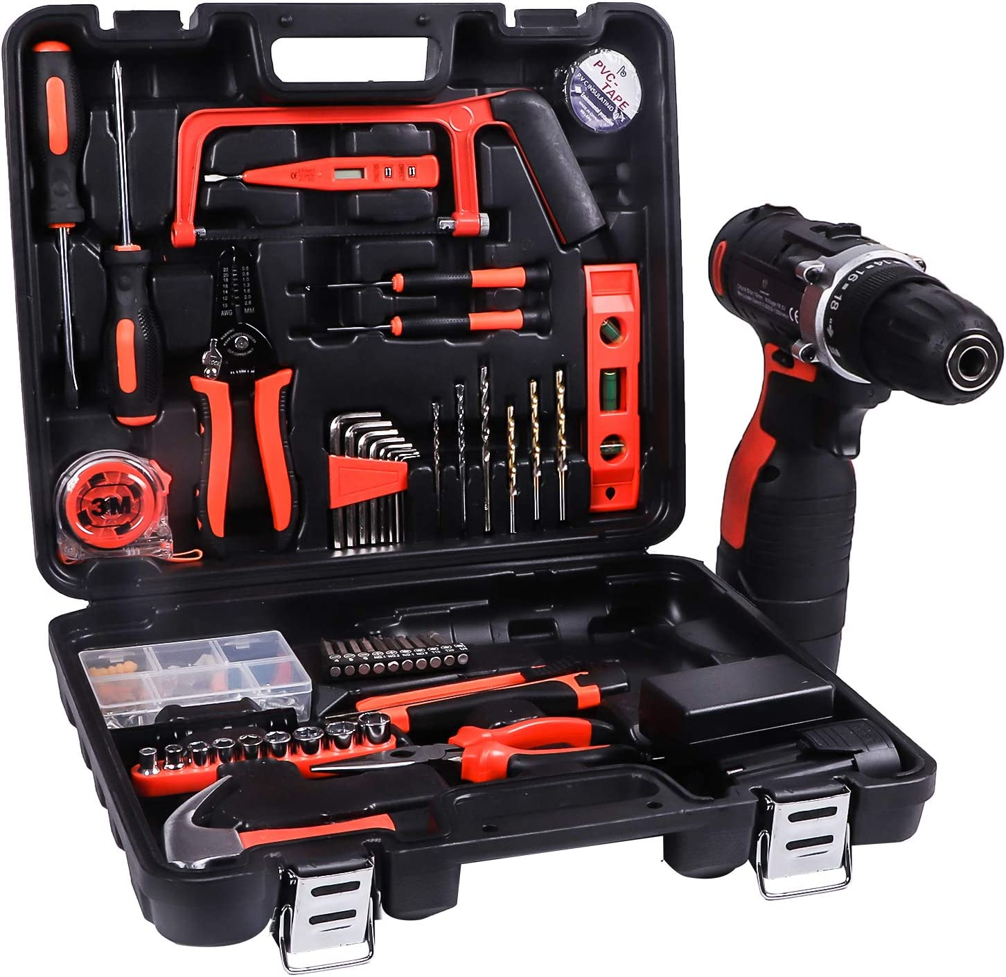 LETTON Power Tools Combo Kit with 60 Accessories 16.8V Cordless Drill for Home wireless Repair Kit Tool Set