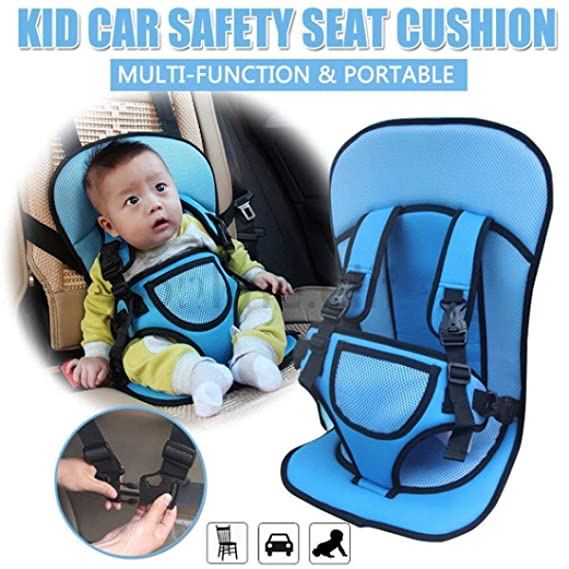 GaxQuly Multi-Function Adjustable Baby Car Cushion Seat with Safety Belt - for Babies & Toddlers- Pack of 1 (Color May Vary)