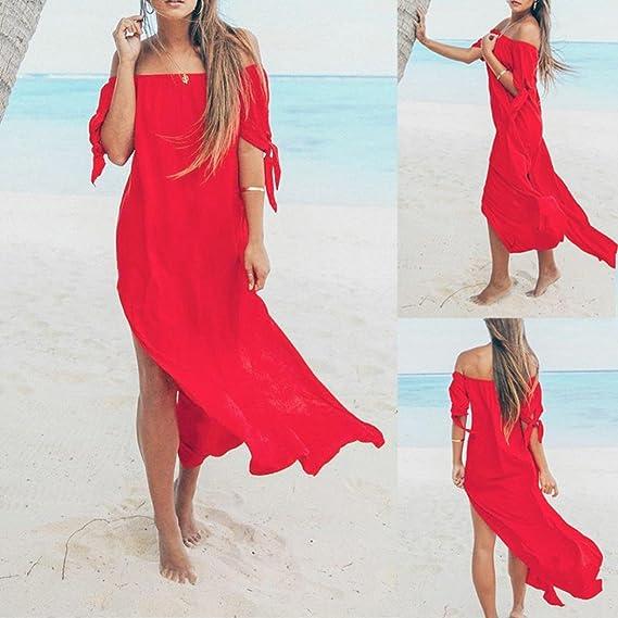 Damen Kleider Sommer Lang Chiffon Strandkleidung Schulterfrei Maxikleid  Urlaub Bademode Vertuschen Sommerkleid  Amazon.de  Bekleidung 31ad29a7d6