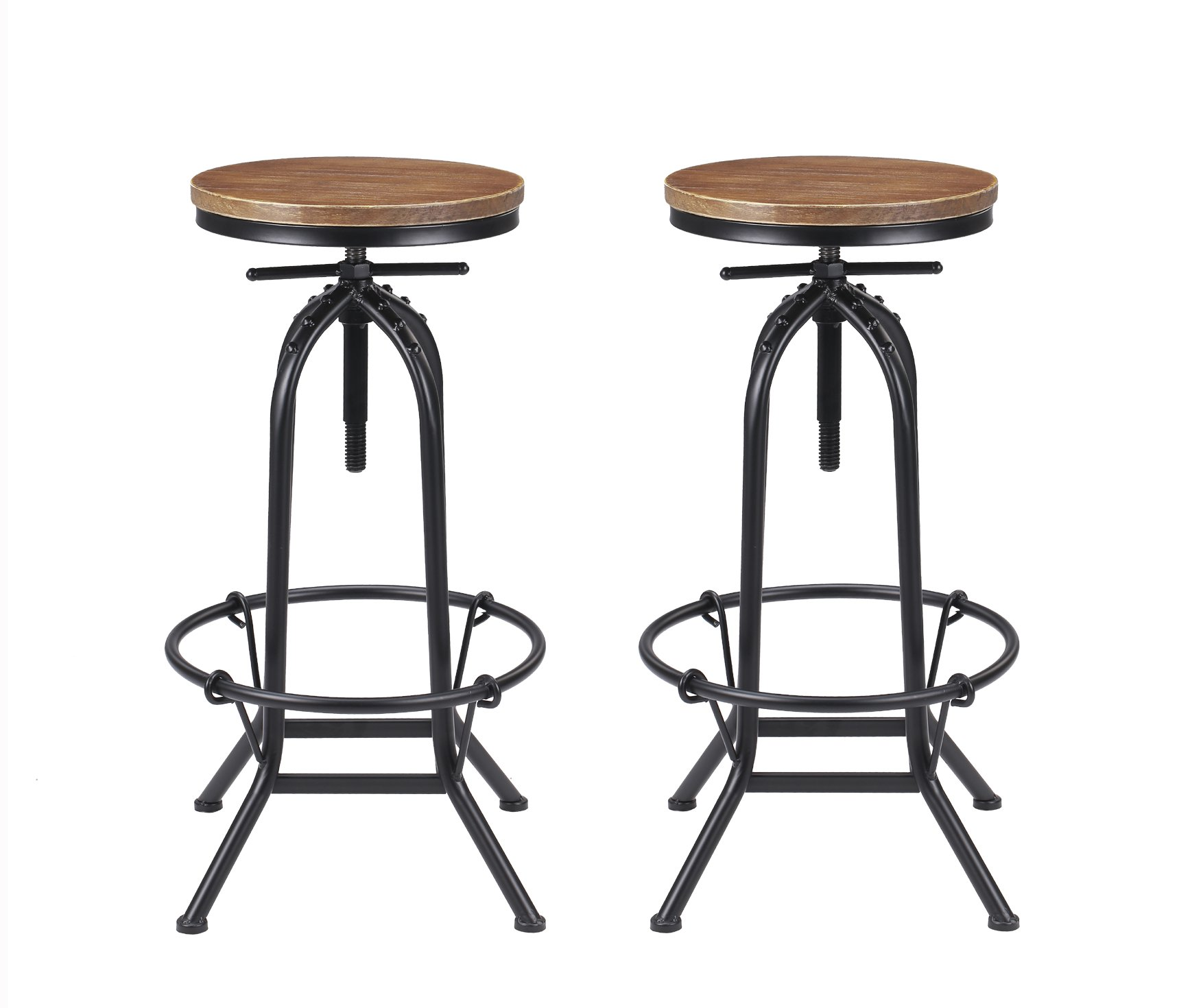 VILAVITA Set of 2 Bar Stools 27.5'' to 31.5'' Adjustable Height Pine Wood Swivel Bar Stool, Retro Finish Wooden Seat and Wrought Iron Frame Kitchen Bar Chairs