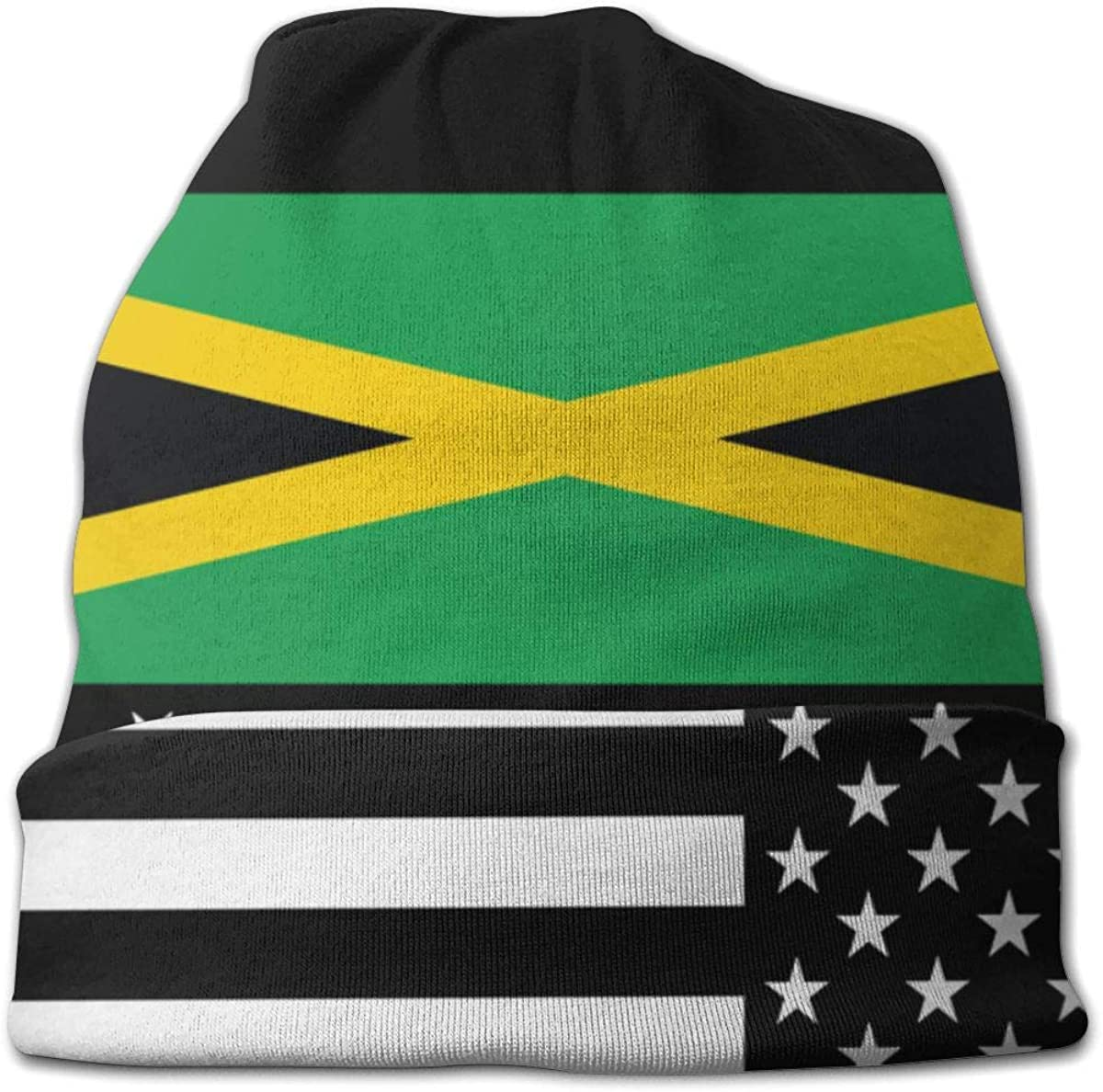 Lake-OD Jamaican USA Flag Thin Baggy Slouchy Knit Beanie Hat Hip-hop Skull Cap for Mens and Womens