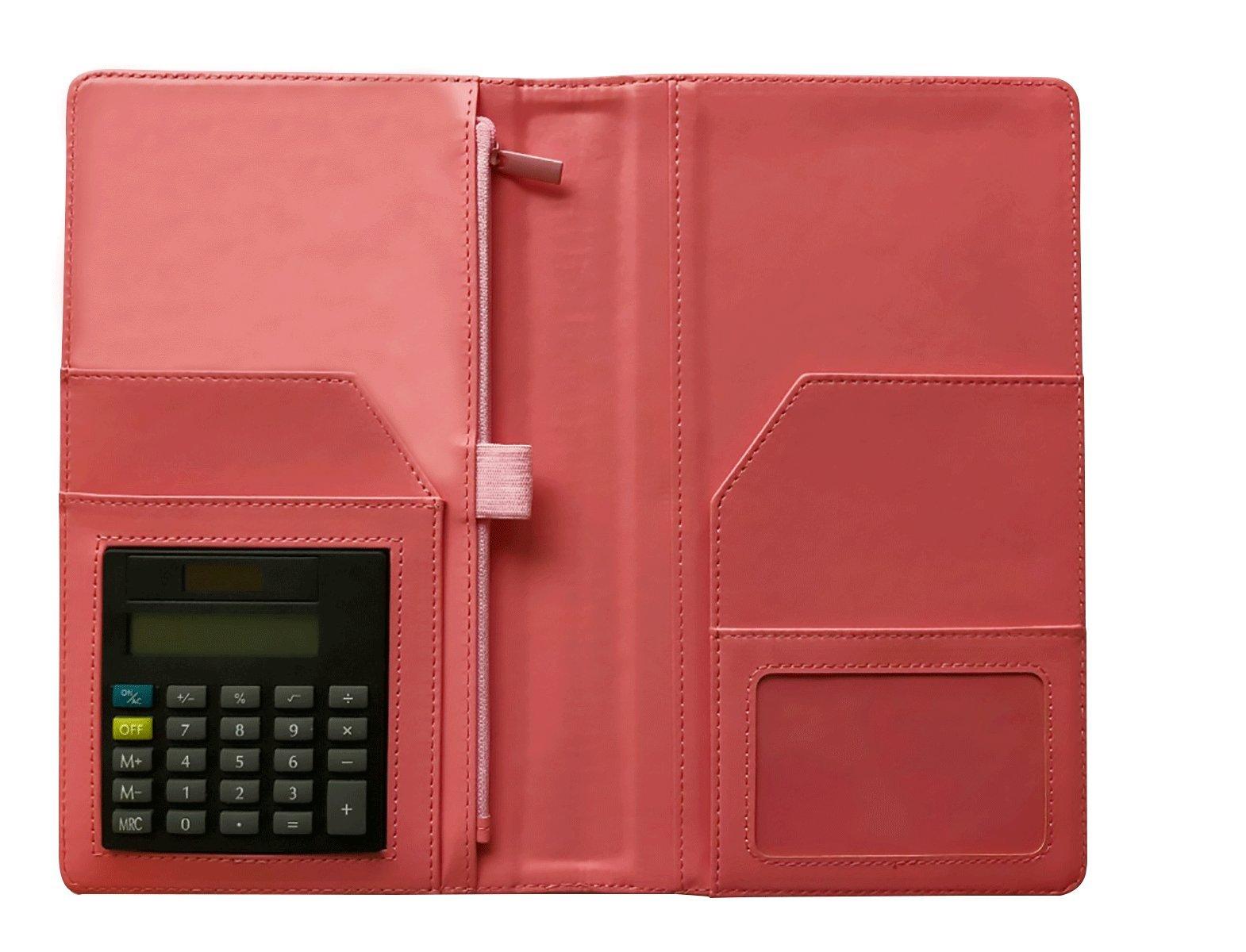 Multiple Pockets Server Book Organizer Wallet – Multifunctional Server Wallet with Built-in Calculator – Elegant Design – Credit Card Holder and Zipper Slot – Ideal for Waiter, College, School