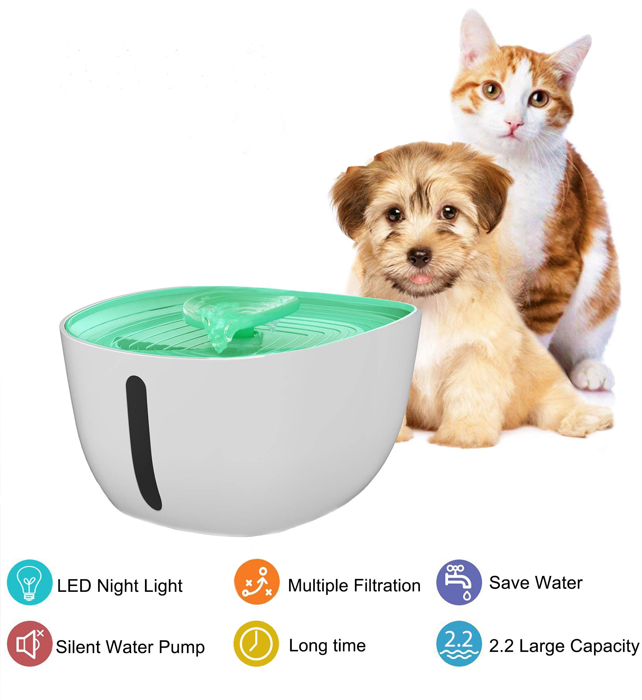 Pet Water Fountain Automatic Pet Filtered Water Dispenser with LED Light Silent Pump Easy to Clean Pet Smart Running Water Fountain for Dogs Cats Multiple Animals