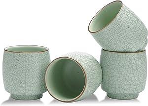 TEANAGO Ceramic Japanese Tea Cups, 5.8 Oz / 175 Ml, Ruware, Lt. Green With Black Line, TC10, 4 pcs/Box, Occupied Japan Tea Cups, Chinese Tea Cup, Asian Tea Cups, Korean Tea Cup
