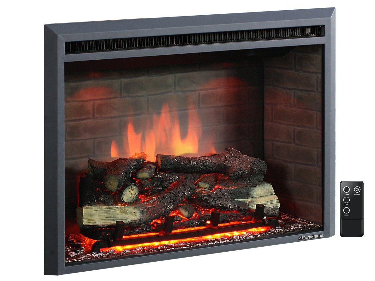 PuraFlame 33'' Western Electric Fireplace Insert with Remote Control, 750/1500W, Black