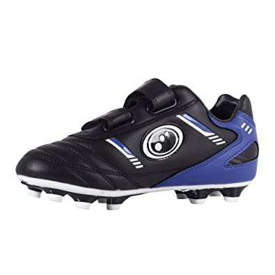Optimum Boys' Tribal Moulded Stud Football Boots, Black (Black/Blue),