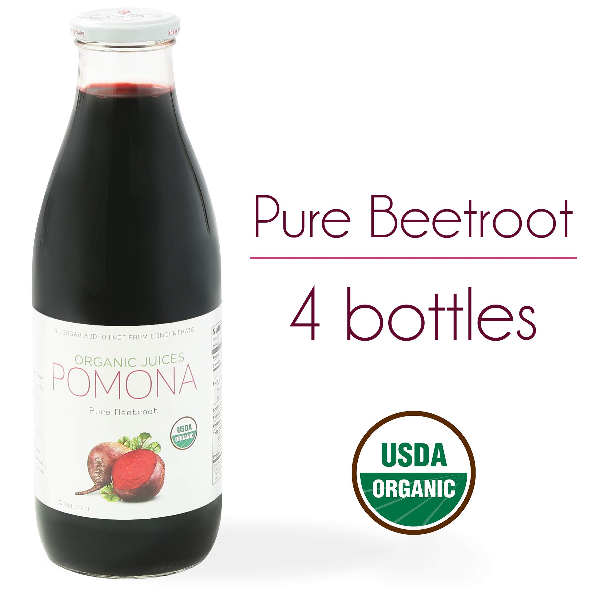 POMONA Organic Pure Beet Juice, 1 Liter Bottle (Pack of 4), Cold Pressed Organic Juice, Non-GMO, No Sugar Added, Not from Concentrate, Gluten Free, Kosher Certified, Preservative Free
