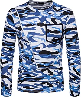 Battercake Camicia Uomo Alta Casual da Uomo Camouflage Print Pullover Neck O Maglietta Com