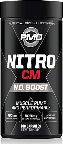 PMD Sports Nitro CM Nitric Oxide with Agmatine Pre Workout Supplement – Muscle Growth and Muscle Pump with L Arginine – Endurance Boost for Hardcore Training and Bodybuilding Preworkout 180 Capsules