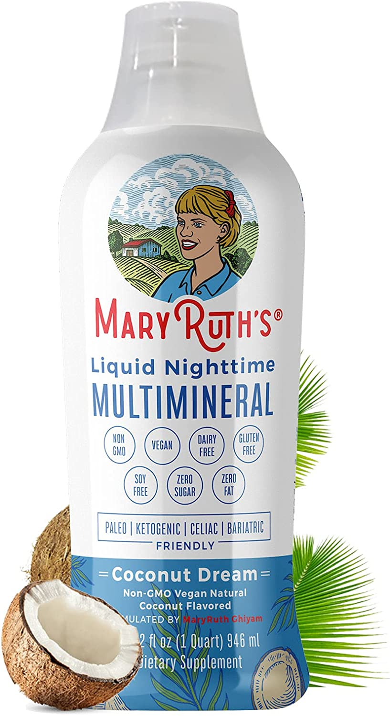 Liquid Sleep Multimineral by MaryRuth's (Coconut) - Vegan Vitamins, Minerals, Magnesium, Calcium & MSM - Natural Sleep, Stress Aid & Muscle Relaxation - NO Melatonin - Non-GMO Paleo 0 Sugar 0 Fat 32oz