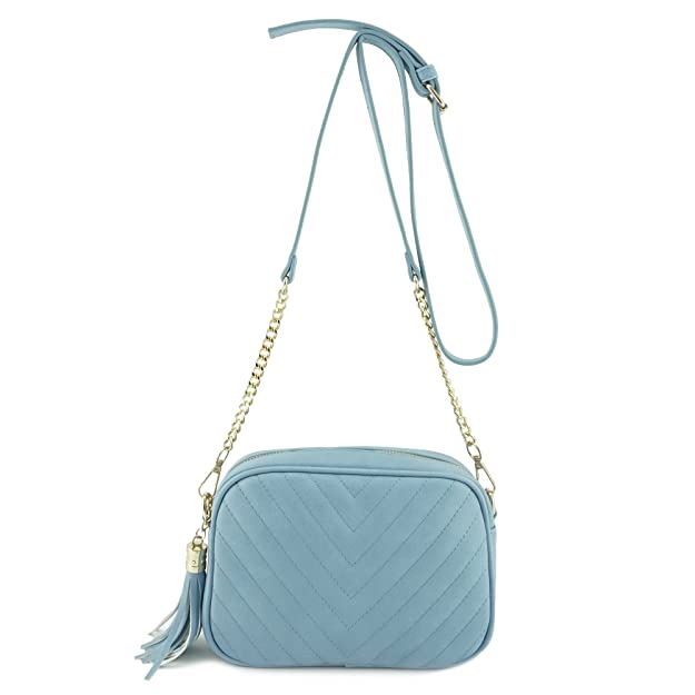 Simple Shoulder Crossbody Bag With Metal Chain Strap And Tassel Top Zipper by 153corp