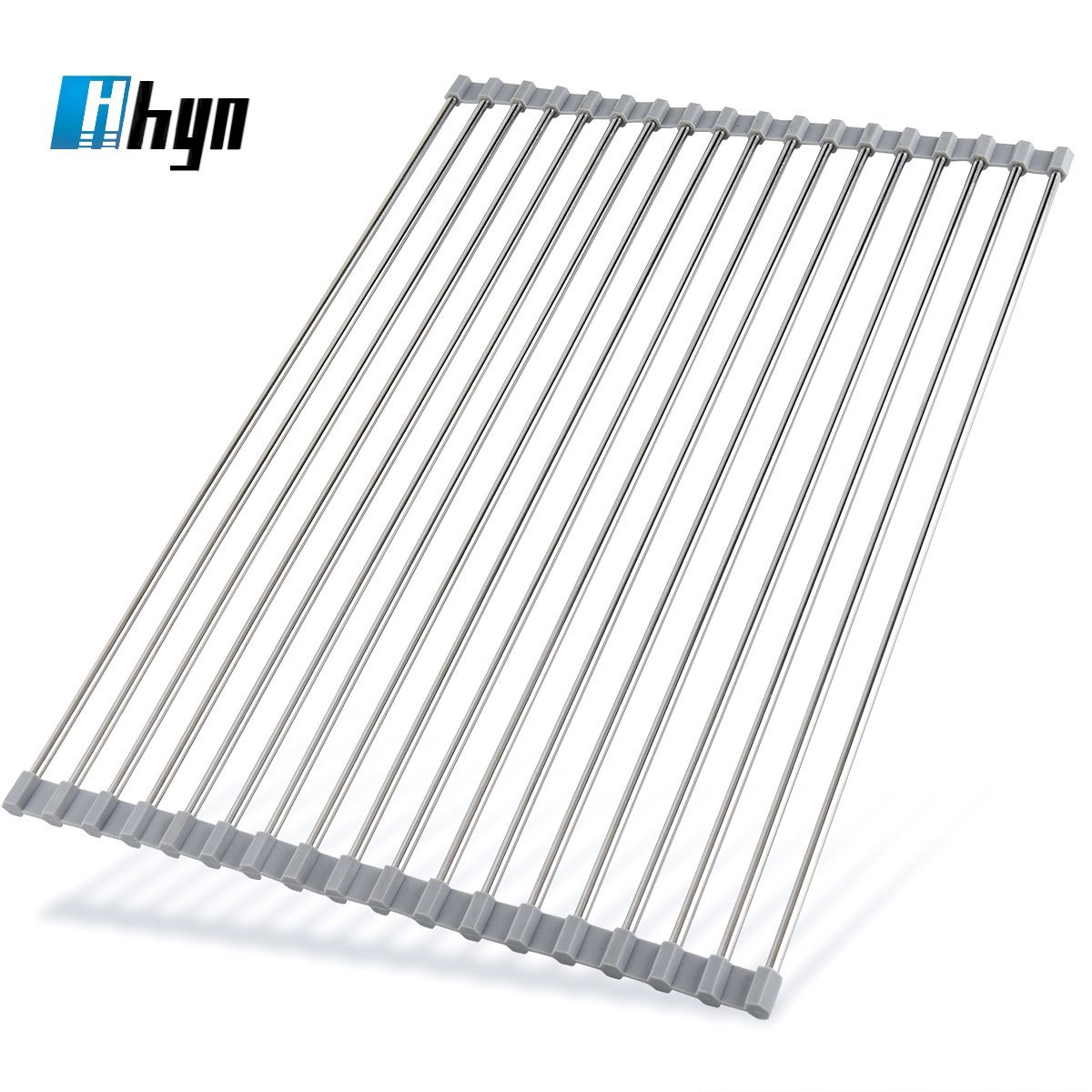 Roll Up Dish Drying Rack by Hhyn - 20.5''(L) x 14''(W) Stainless Steel and Silicone Dish Drying Mat Over the Sink Foldable Drain Rack Multipurpose Dish Drainer Extra Large, Gray by Hhyn