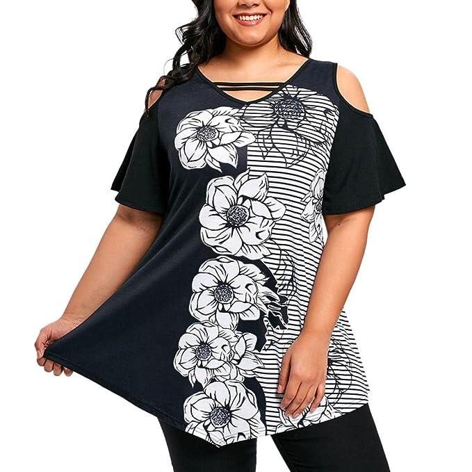 Camisetas De Hombro Frío con Estampado Mujer LHWY, Camisetas Tallas Grandes Irregular Suelto Tops Casuales