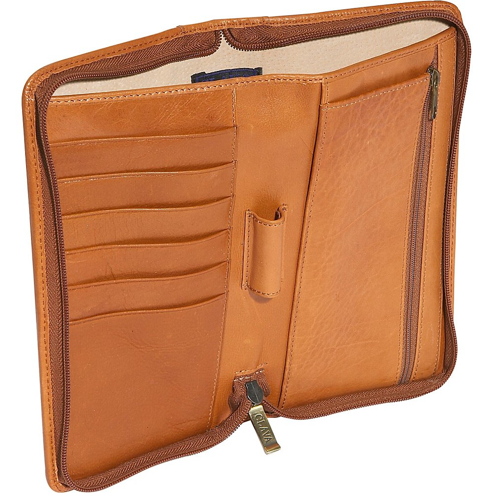 Clava Glazed Leather Passport Wallet Tuscan Black