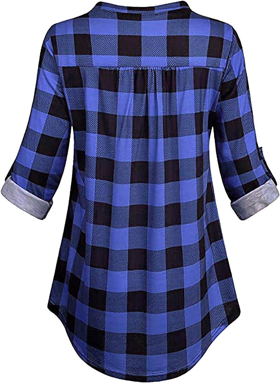 camicia a quadri Kakio Hutcuo Camicetta da donna a maniche lunghe