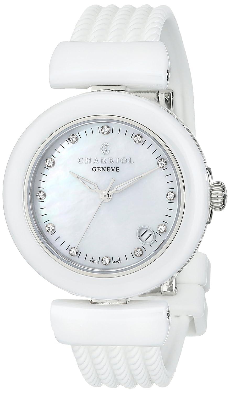 Charriol Ael Damen 33mm Weiß Kautschuk Armband Saphirglas Uhr AE33CW.174.003