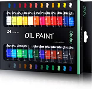 Ohuhu Oil Paint Set, 24 Oil-Based Colors, Artists Paints Oil Painting Set, 12ml x 24 Tubes Great Back To School Christmas Gifts Ideal