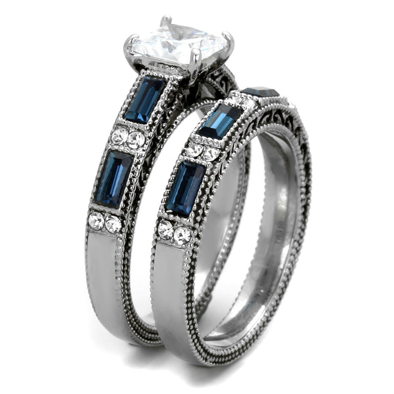 Amazon His Hers Wedding Ring Sets Womens Stainless Steel Vintage Set Mens Titanimum Band Size 05 09 Jewelry