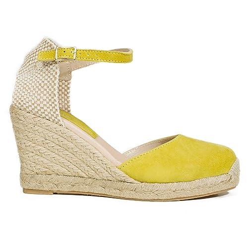 comprar popular 80c84 d6d30 Zapatos miMaO. Zapatos Piel Mujer Hechos EN ESPAÑA. Cuñas Esparto Mujer.  Sandalias Plataforma. Zapato Cómodo Mujer con Plantilla Confort Gel