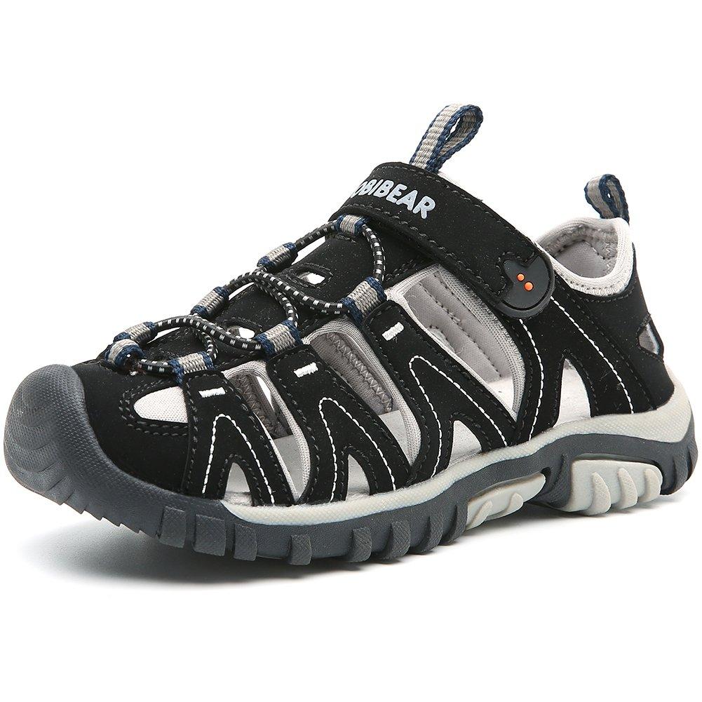 HOBIBEAR Boys Outdoor Closed-Toe Summer Sport Sandals-Black