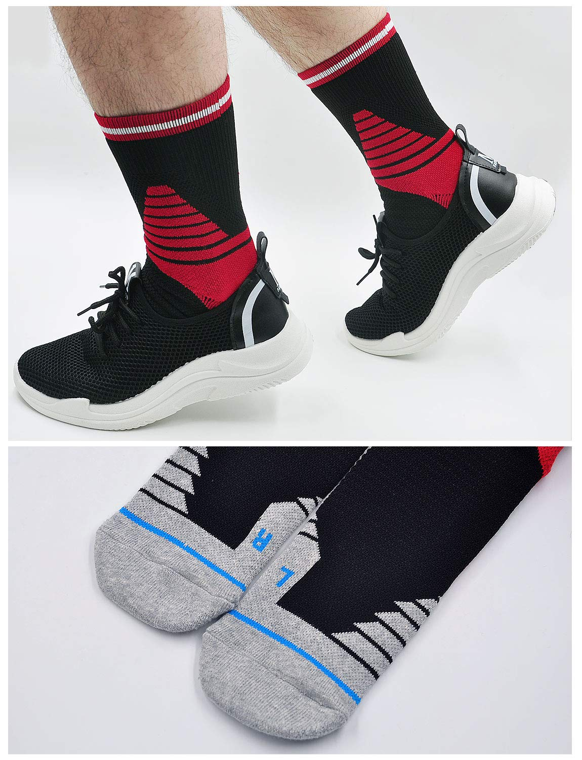 Compression Socks for Men Athletic Sport Fit for Plantar Fasciitis Running Arch Support Ankle Socks Boost Stamina 4 Pack