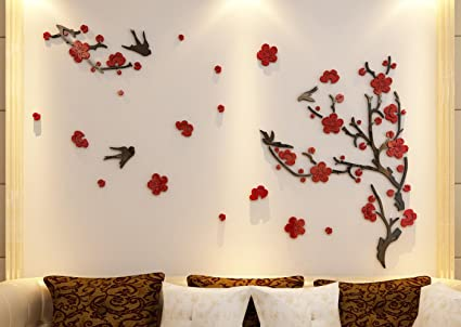 Amazoncom 3d Large Plum Blossom Flower Wall Murals for Living Room