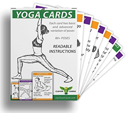 CleverCards Yoga Cards: 80+ Poses and Essential Breathing Technics, Beginner and Advanced Yoga Poses Variations in one Deck, READABLE Instructions, 12 ...
