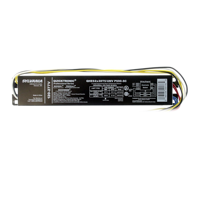 Sylvania Qhes2x28t5 Unv Ps90 Sc Fluorescent Ballast 2 Lamp F28t5 Osram Wiring Diagram 28w T5 120 277v