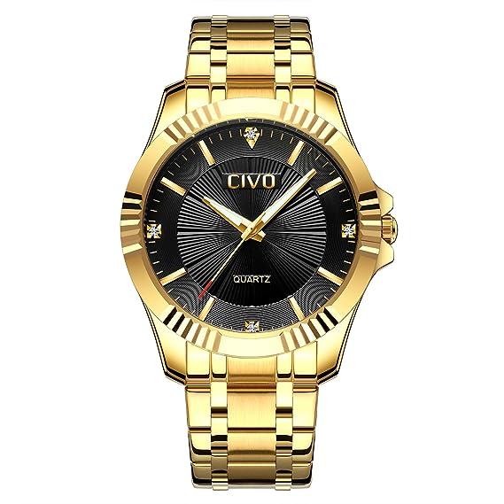 CIVO Hombres Dorado Relojes con Banda de Acero Inoxidable Lujo Negocio Impermeable Reloj de Pulsera Para Hombres Elegantes Casual Vestir Diseño Simple ...