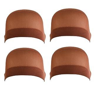 Frcolor Parrucca tappi parrucca elastico alto morbido Caps confezione da 4, marrone scuro