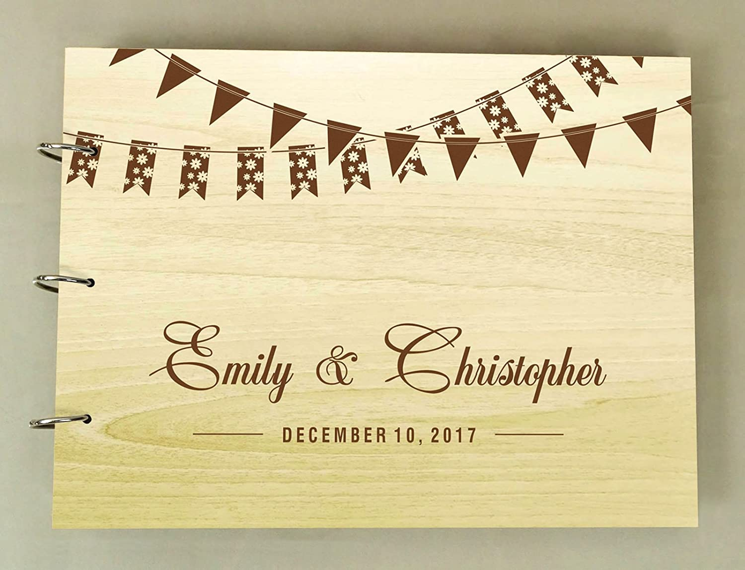 Bride And Groom Silhouette Personalized Name And Date Wedding Wooden Guest Book Photo Albums Scrapbook Darling Souvenir DSGB10A-1