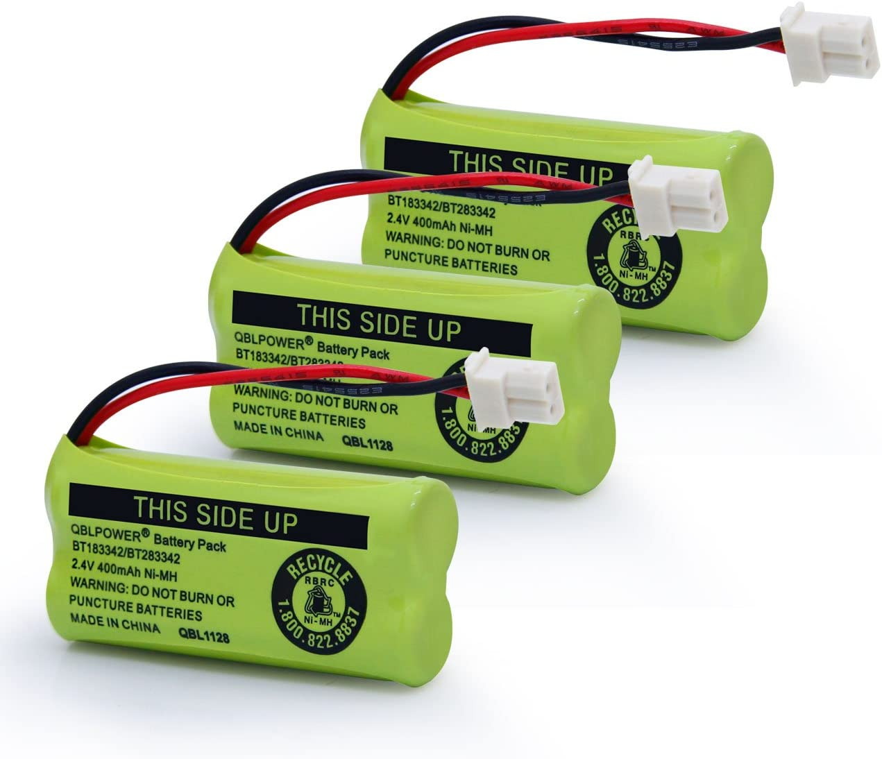 QBLPOWER BT183342/BT283342 2.4V 400mAh Ni-mh BT-166342 BT-266342 BT-162342 BT-262342 Battery Compatible with VTech CS6114 CS6419 CS6719 AT&T EL52300 CL80111 Cordless Phone(Pack of 3)