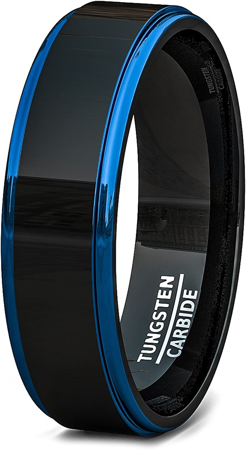 Duke Collections Two Tone Polished Black Tungsten Ring 6mm Blue Rose Gold Sides Step Edge Comfort Fit