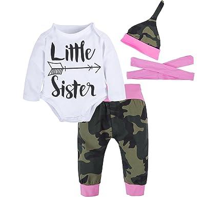 BIG ELEPHANT Baby Girls' Graphic Long Sleeve Top Pants Clothing Set H58H29