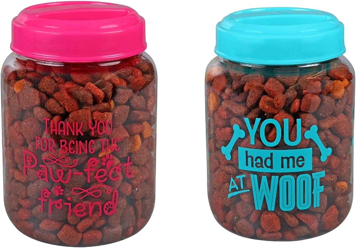 BPA-Free Plastic Airtight Dog Cat Pet Treat & Food Storage Containers Canisters Pink & Blue Thank You for Being The Paw FECT Friend You had me at Woof Slogans (Set of 2)