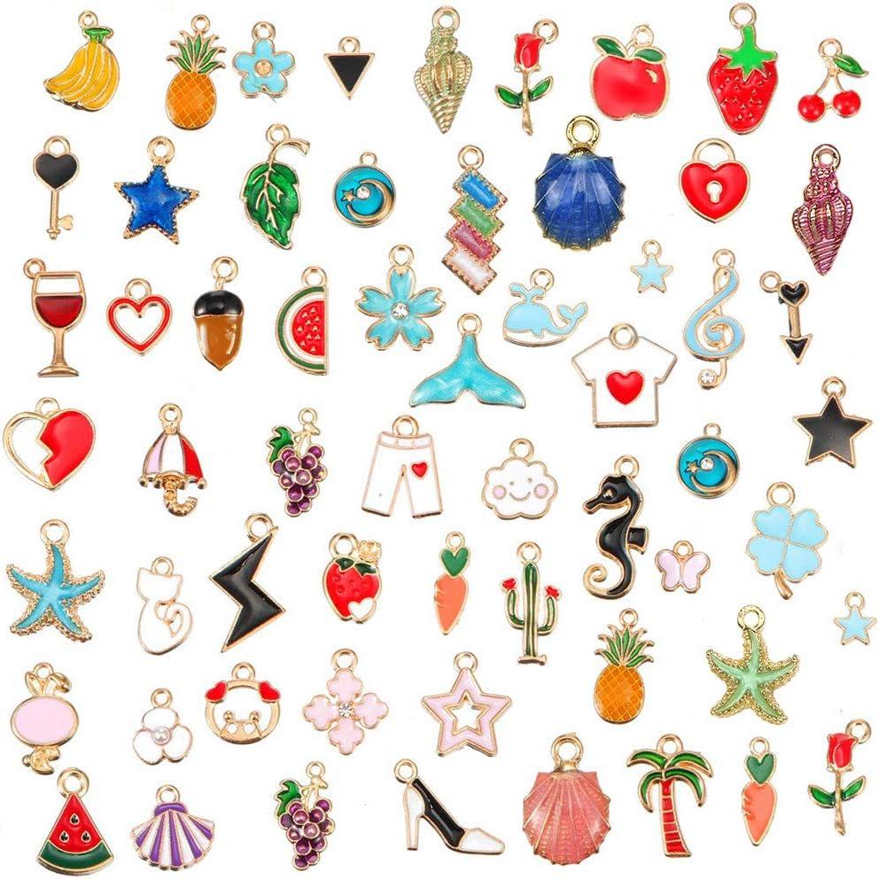 GOTONE 60 piezas Charm Lindos Colgante Esmalte Accesorios De Aleación DIY para de la joyería de bricolaje, llaveros, pulseras, collares, pendientes