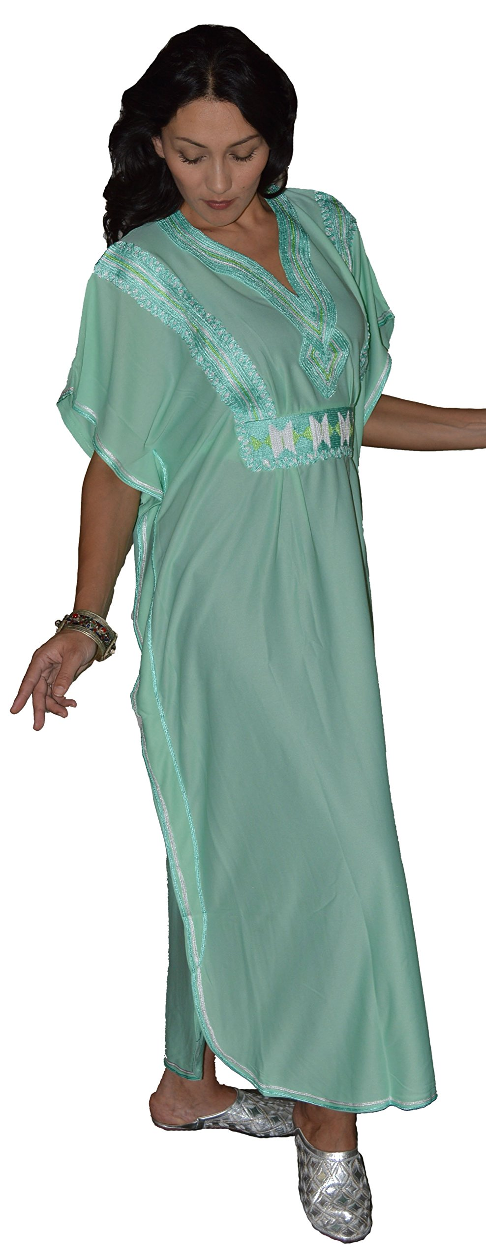 Moroccan Caftans Women Breathable Handmade Butterfly Style Embroidery Ethnic Design Mint