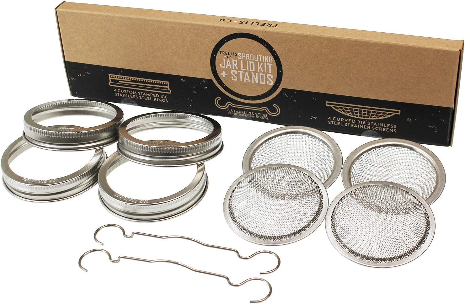 Trellis + Co. | Stainless Steel Sprouting Kit, 4 Pack With Sprouting Stands | Rust Proof 316 Stainless, Curved Mesh, Fits Most Wide Mouth Mason Jars | Grow Your Own Organic Sprouts From Seeds