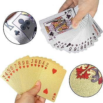 REYOK 2 Sets Plastic Poker Cartas 100% Impermeable Juego de Mesa de Naipes de plástico Resistente a Las lágrimas Oro, Plata: Amazon.es: Juguetes y juegos