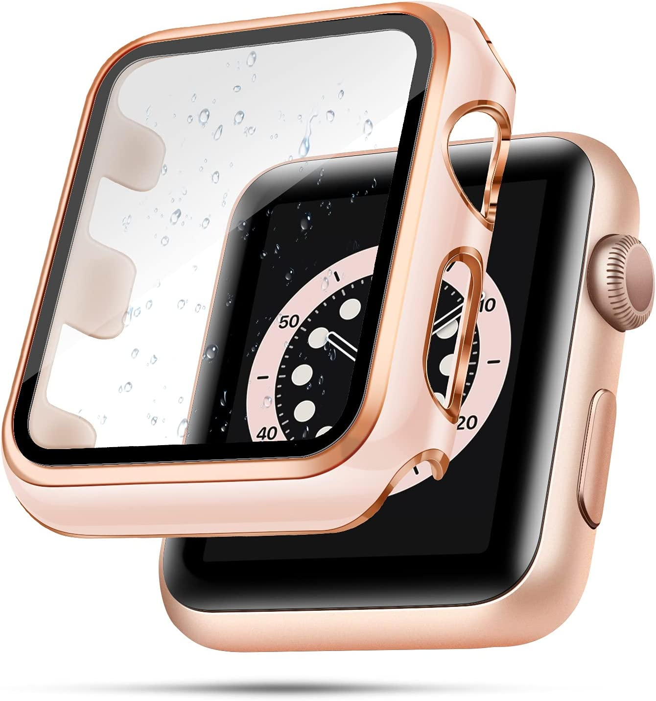 top4cus 42mm Case Compatible with Apple Watch, 42mm Bumper Built-in Tempered Glass Screen Protector, Protective PC Cover for iWatch Series SE 6 5 4 3 2 1 Women Men (42mm, Pink + Rose gold edge)