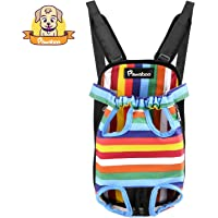 Pawaboo Pet Carrier Backpack, Adjustable Pet Front Cat Dog Carrier Backpack Travel Bag, Legs Out, Easy-Fit for Traveling Hiking Camping, Small Size, Colorful Strips