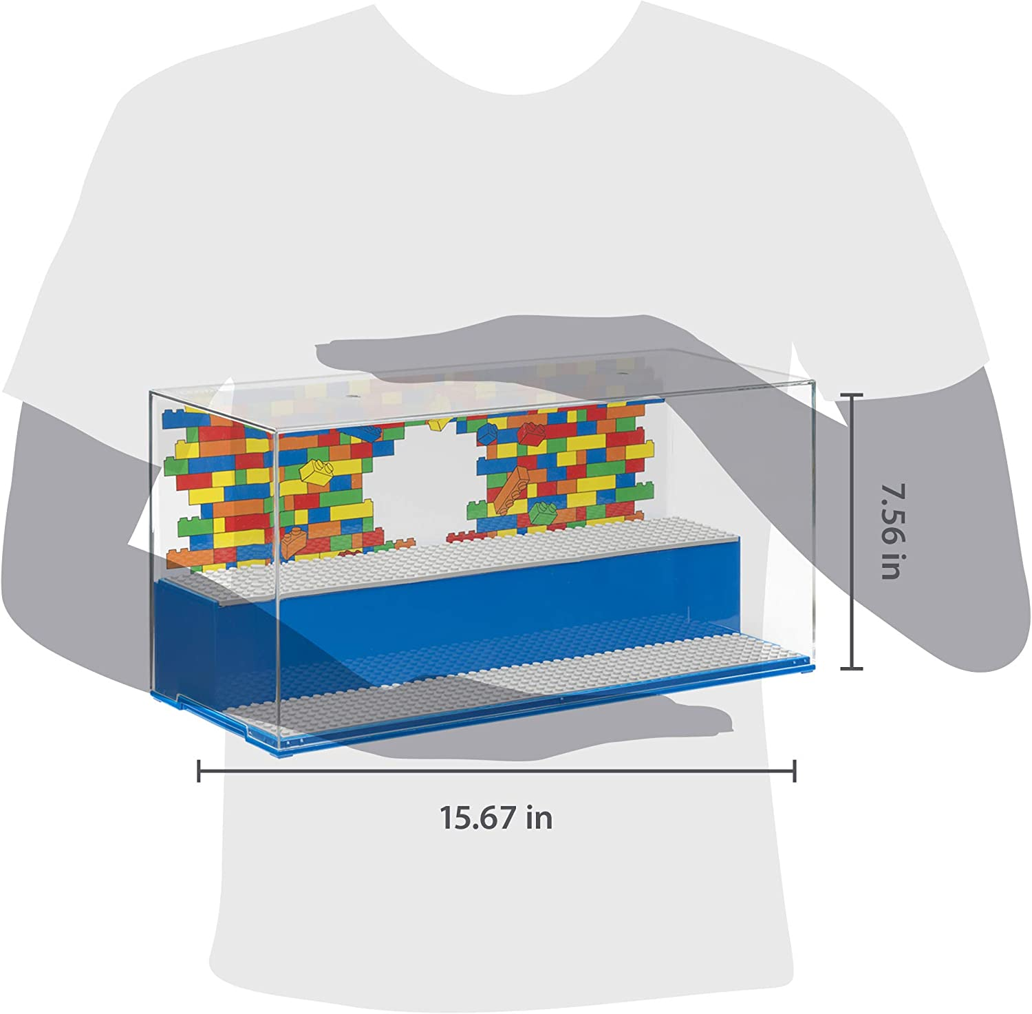 Room Copenhagen Lego Play and Display Case Iconic Blue Includes Baseplates and Backdrop